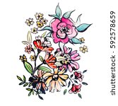 watercolor flowers illustration.... | Shutterstock . vector #592578659