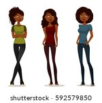 cute african american girls in... | Shutterstock .eps vector #592579850