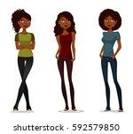 cute african american girls in... | Shutterstock .eps vector #592579850