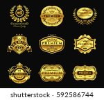 golden badges  stickers premium ... | Shutterstock .eps vector #592586744