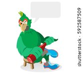 green parrot  a character in... | Shutterstock .eps vector #592587509