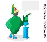 green parrot  a character in... | Shutterstock .eps vector #592587530