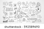 hand drawn sketches and a lot... | Shutterstock .eps vector #592589693