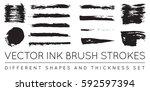 set of vector black pen ink... | Shutterstock .eps vector #592597394