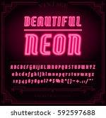 bright neon alphabet letters ... | Shutterstock .eps vector #592597688