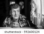 an elderly woman near the... | Shutterstock . vector #592600124