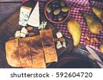 strudel with cheese and pear.... | Shutterstock . vector #592604720