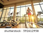fitness lifestyle. young sporty ... | Shutterstock . vector #592612958