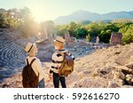 travel and tourism. senior... | Shutterstock . vector #592616270