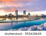 milwaukee skyline at twilight...   Shutterstock . vector #592618634