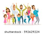 big family birthday party. kids ... | Shutterstock .eps vector #592629224