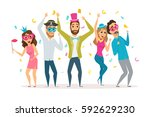 people at the carnival party.... | Shutterstock .eps vector #592629230