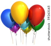 Happy Birthday party balloons decoration colorful multicolor. New Year Christmas greeting card. Seven anniversary retirement graduation concept. Detailed 3d render. Isolated on white background - stock photo