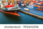 container ship in export and... | Shutterstock . vector #592641056