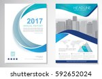 Template vector design for Brochure, Annual Report, Magazine, Poster, Corporate Presentation, Portfolio, Flyer, layout modern with green and blue color size A4, Front and back, Easy to use and edit. | Shutterstock vector #592652024
