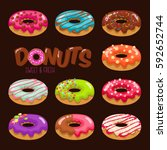 colorful set of glazed donuts... | Shutterstock .eps vector #592652744