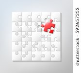 25 puzzle pieces are assembled... | Shutterstock .eps vector #592657253