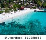 top view of tropical island... | Shutterstock . vector #592658558