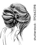 woman with wedding updo... | Shutterstock .eps vector #592662398