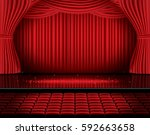 red stage curtain with seats... | Shutterstock .eps vector #592663658