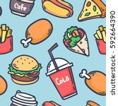 hand draw hot dog  hamburger ...   Shutterstock .eps vector #592664390
