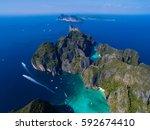 top view of tropical island... | Shutterstock . vector #592674410