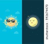 happy sun and moon cartoon  day ... | Shutterstock .eps vector #592674470