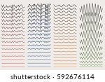 set of wavy. curved lines and... | Shutterstock .eps vector #592676114