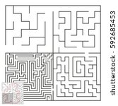 vector complex maze with answer ... | Shutterstock .eps vector #592685453