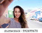 front portrait of happy young... | Shutterstock . vector #592699670
