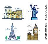 landmark travel banner icons... | Shutterstock .eps vector #592700528
