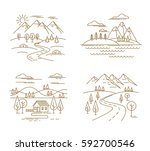 flat linear landscape and... | Shutterstock .eps vector #592700546