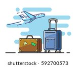 icon airplane and suitcase... | Shutterstock .eps vector #592700573