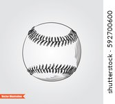 ball for baseballl hand drawn... | Shutterstock .eps vector #592700600