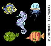 set of sea creatures.   Shutterstock .eps vector #592700858
