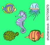 set of sea creatures.   Shutterstock .eps vector #592700870