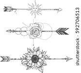 tribal arrow set in ethnical... | Shutterstock .eps vector #592706513
