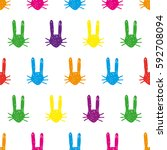 colorful bunny pattern | Shutterstock .eps vector #592708094