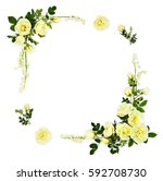frame of white roses  burnet... | Shutterstock . vector #592708730