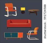 living room 1970s furniture set | Shutterstock .eps vector #592724588