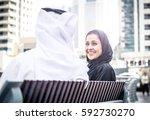 arabian couple portrait. man... | Shutterstock . vector #592730270