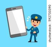 cartoon policeman with... | Shutterstock .eps vector #592733390