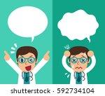 cartoon male doctor expressing... | Shutterstock .eps vector #592734104