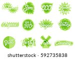 vector eco  natural  organic ... | Shutterstock .eps vector #592735838