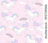 cute hand drawn unicorn vector... | Shutterstock .eps vector #592739066