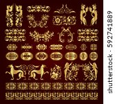 golden decorative calligraphic... | Shutterstock .eps vector #592741889