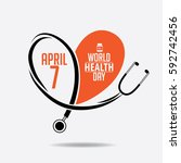 world health day heart and... | Shutterstock . vector #592742456