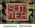 summer tropical background with ... | Shutterstock .eps vector #592744760