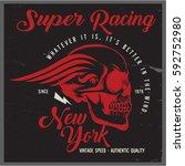 vintage biker graphics and... | Shutterstock .eps vector #592752980