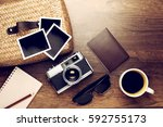 retro camera with empty old... | Shutterstock . vector #592755173